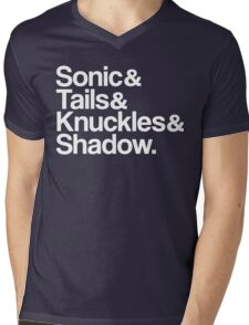 Sonic & Tails & Knuckles & Shadow - White Mens V-Neck T-Shirt