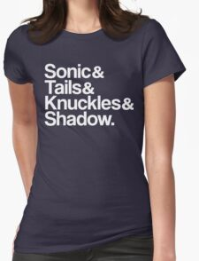 Sonic & Tails & Knuckles & Shadow - White Womens Fitted T-Shirt