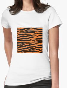 Tiger Print - Orange Womens Fitted T-Shirt