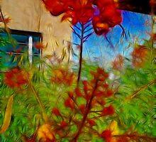 Desert Bird of Paradise/fractalius by SANDRA BROWN