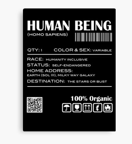 Human Being Shipping Label Canvas Print
