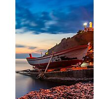 A rowboat at Anadolufeneri Bay Photographic Print