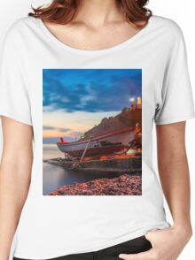 A rowboat at Anadolufeneri Bay Women's Relaxed Fit T-Shirt