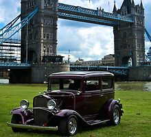 1932 Chevrolet 2 Door Custom Sedan-London Tower Bridge by TeeMack