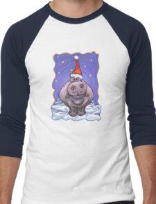 Hippopotamus Christmas Men's Baseball ¾ T-Shirt
