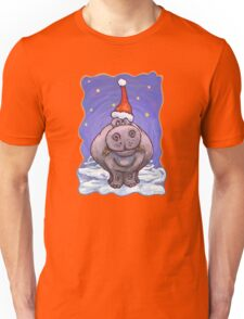Hippopotamus Christmas Unisex T-Shirt