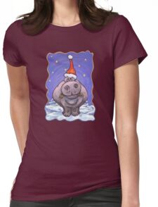 Hippopotamus Christmas Womens Fitted T-Shirt