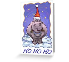 Hippopotamus Christmas Card Greeting Card