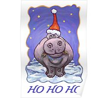Hippopotamus Christmas Card Poster