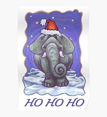 Elephant Christmas Card Poster