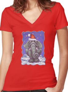 Elephant Christmas Women's Fitted V-Neck T-Shirt
