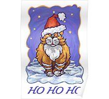 Ginger Cat Christmas Card Poster
