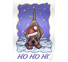 Hound Dog Christmas Card Poster