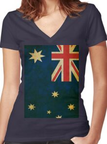 Vintage Australia Flag Women's Fitted V-Neck T-Shirt