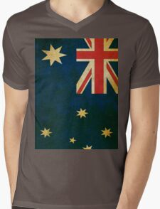 Vintage Australia Flag Mens V-Neck T-Shirt