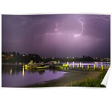 Lightning at Lakes Entrance Poster