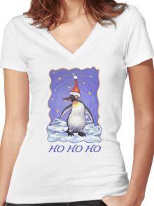 Penguin Christmas Card Women's Fitted V-Neck T-Shirt