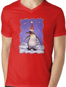 Penguin Christmas Mens V-Neck T-Shirt
