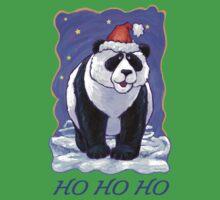 Panda Bear Christmas Card One Piece - Short Sleeve