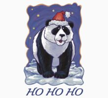 Panda Bear Christmas Card One Piece - Short Sleeve