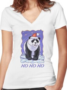 Panda Bear Christmas Card Women's Fitted V-Neck T-Shirt