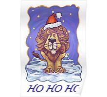 Lion Christmas Card Poster