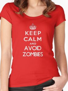 Keep calm and avoid zombies. (text only) Women's Fitted Scoop T-Shirt