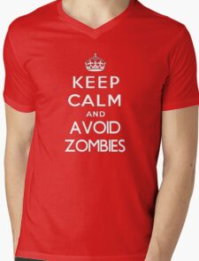 Keep calm and avoid zombies. (text only) Mens V-Neck T-Shirt