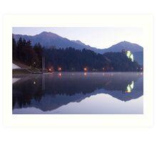 Dawn breaks over Lake Bled Art Print
