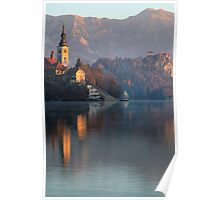 Dawn breaks over Lake Bled Poster