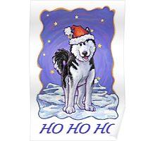 Husky Christmas Card Poster