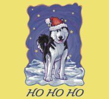Husky Christmas Card One Piece - Short Sleeve