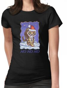 Tiger Christmas Card Womens Fitted T-Shirt