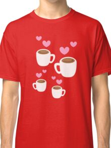 Coffee cups group with love hearts cute! Classic T-Shirt
