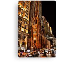 USA. New York. Manhattan. Church at night. Canvas Print