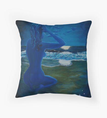 Girl At The Shore Throw Pillow