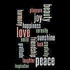Love & Peace Word Cloud iPhone Case - Black by Hilda Rytteke