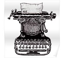 Vintage Typewriter black and white pen ink drawing Poster