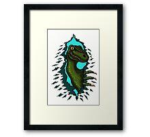 Raptor is Here funny dinosaur cartoon drawing Framed Print