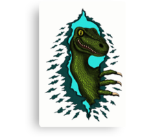 Raptor is Here funny dinosaur cartoon drawing Canvas Print