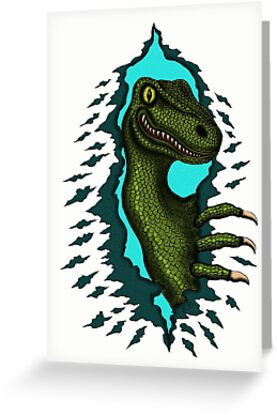 Raptor is Here funny dinosaur cartoon drawing by Vitaliy Gonikman
