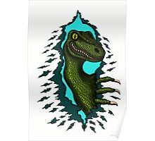 Raptor is Here funny dinosaur cartoon drawing Poster