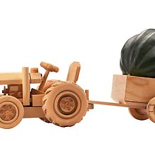 Toy tractor with green pumpkin. by fotorobs