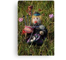 Scotty plays the Pipes beside the Cross-leaved Heath Canvas Print