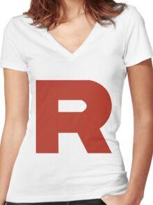 Team Rocket R Women's Fitted V-Neck T-Shirt