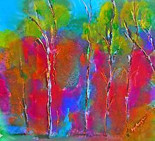 Hanging Rock Woodend VIC Australia (on silk) by Margaret Morgan (Watkins)