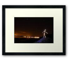 Stick Man - Star Gazing Framed Print