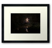 Stick Man Sitting / Pool Framed Print