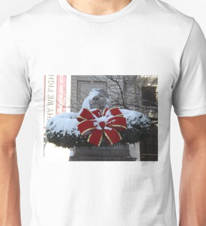 New York Public Library Lion After A Snowfall, New York City T-Shirt