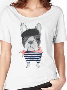Frenchie With Arc de Triomphe Women's Relaxed Fit T-Shirt